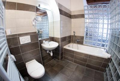 Koupelna v apartmánu s vanou a luxfery