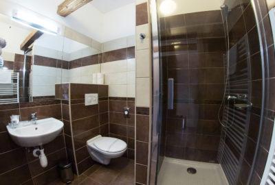 Koupelna s umyvadlem, toaletou a sprchovým koutem
